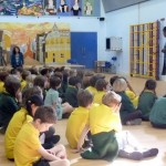 Mary Jane talking to Wolvercote School