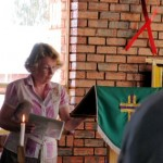 Sue speaking at a service in St Chad's, Taung